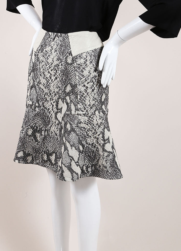 Yigal Azrouel Grey Reptile Texture Stretch Jacquard Skirt Sideview