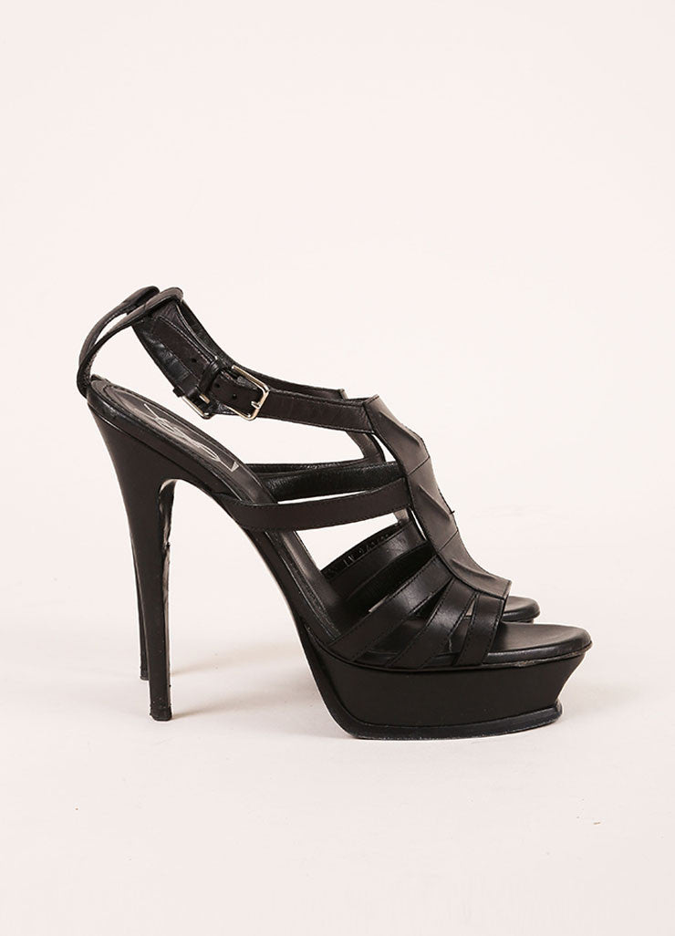 "Yves Saint Laurent Black Leather Strappy ""New Riveg 105"" Platform Sandals Sideview"