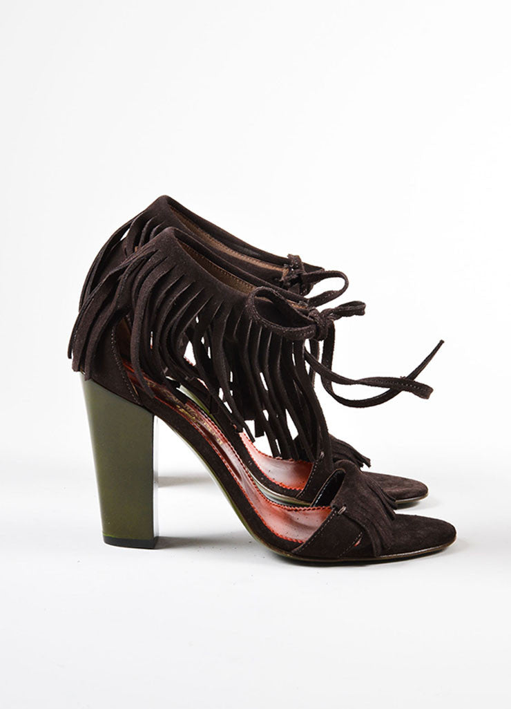 Brown and Green Yves Saint Laurent Suede Leather Fringe Chunky Heel Sandals Sideview