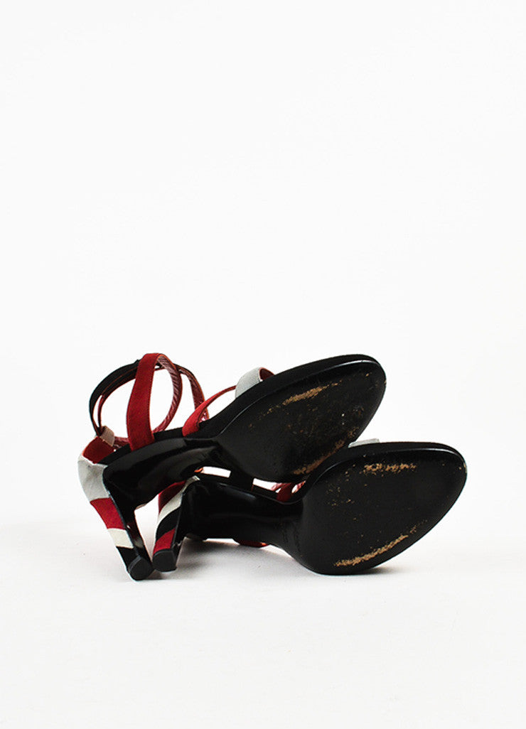 Yves Saint Laurent Dark Red and Black Suede Striped Strappy Platform Sandals Outsoles