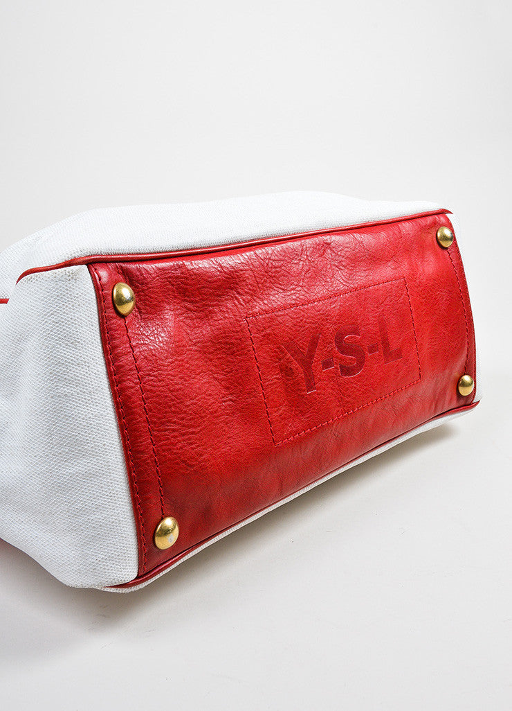 "Red and White Yves Saint Laurent Rive Gauche Canvas ""Raspail"" Painted Tote Bag Bottom View"