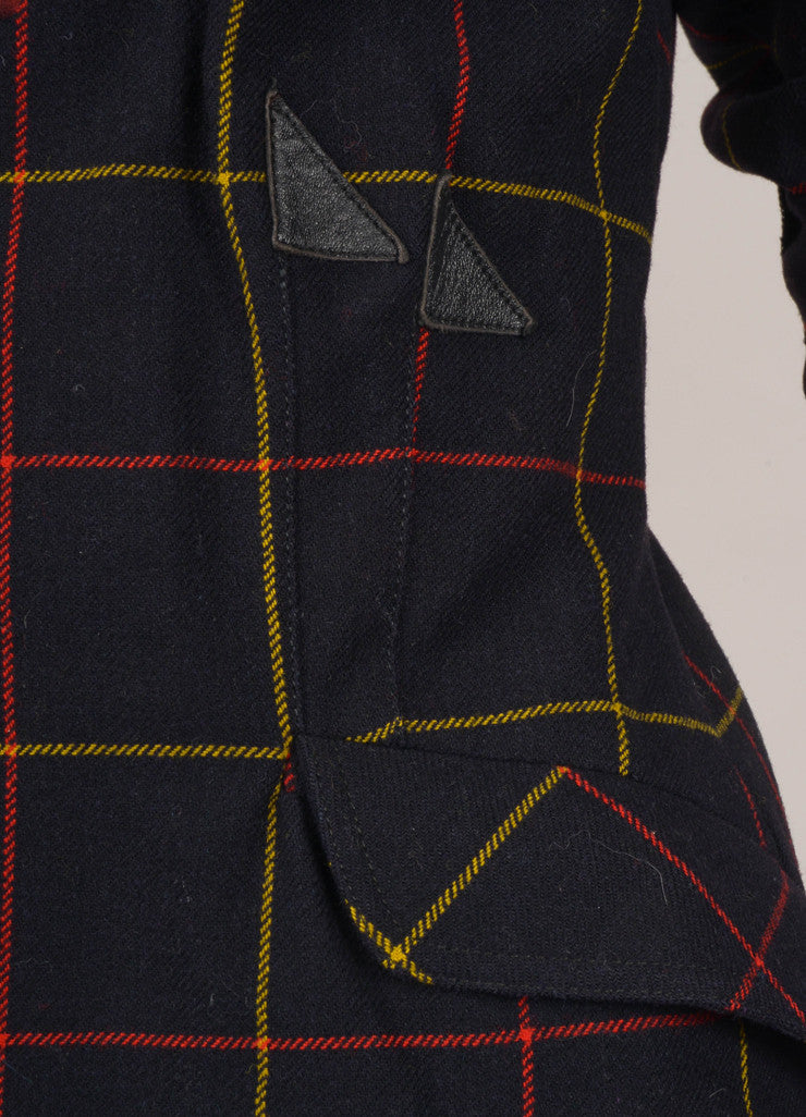 Black, Red, and Yellow Plaid Wool Jacket