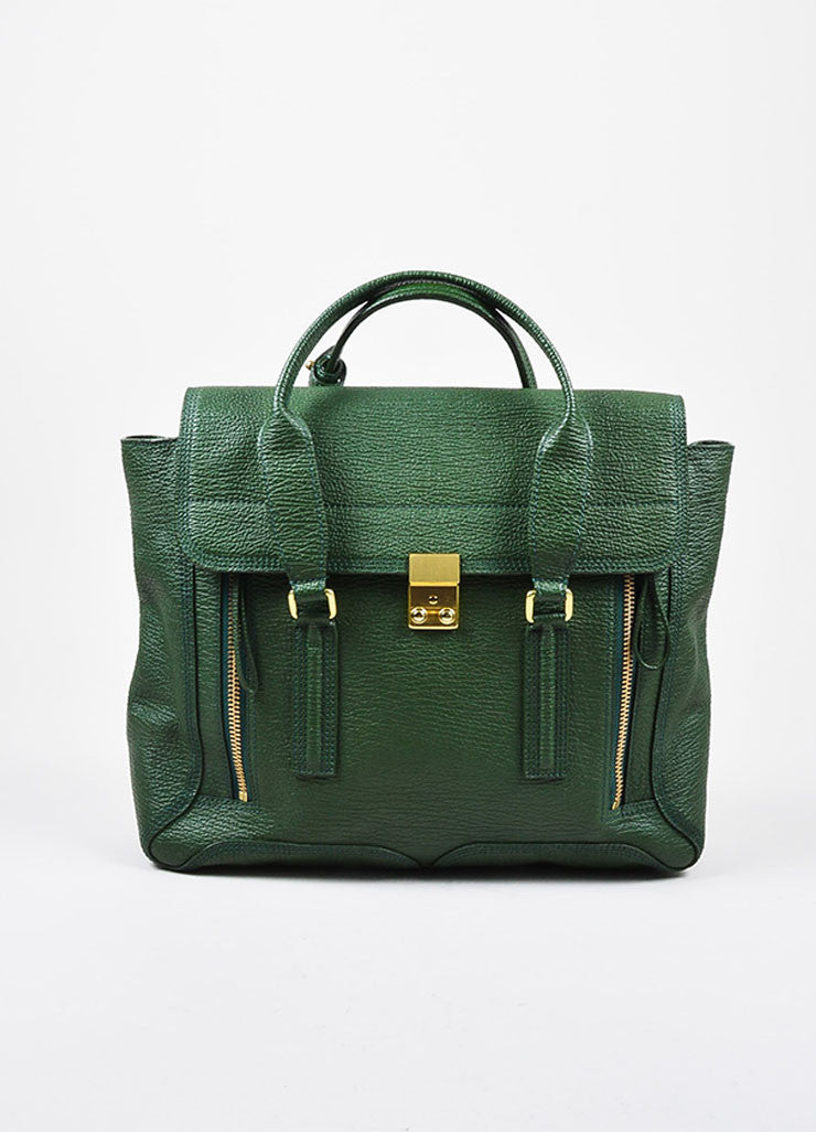 "3.1 Phillip Lim Jade Textured Leather Large ""Pashli"" Satchel Bag Frontview"