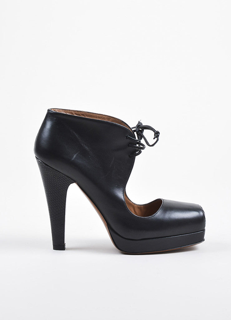 Alaia Black Leather and Lizard Lace Up Cutout Booties Sideview