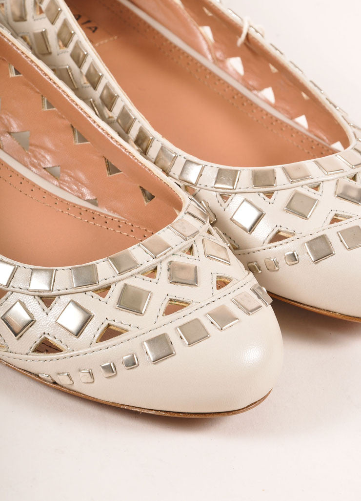 Alaia New In Box Cream and Silver Toned Flat Studded Cut Out Leather Flats Detail
