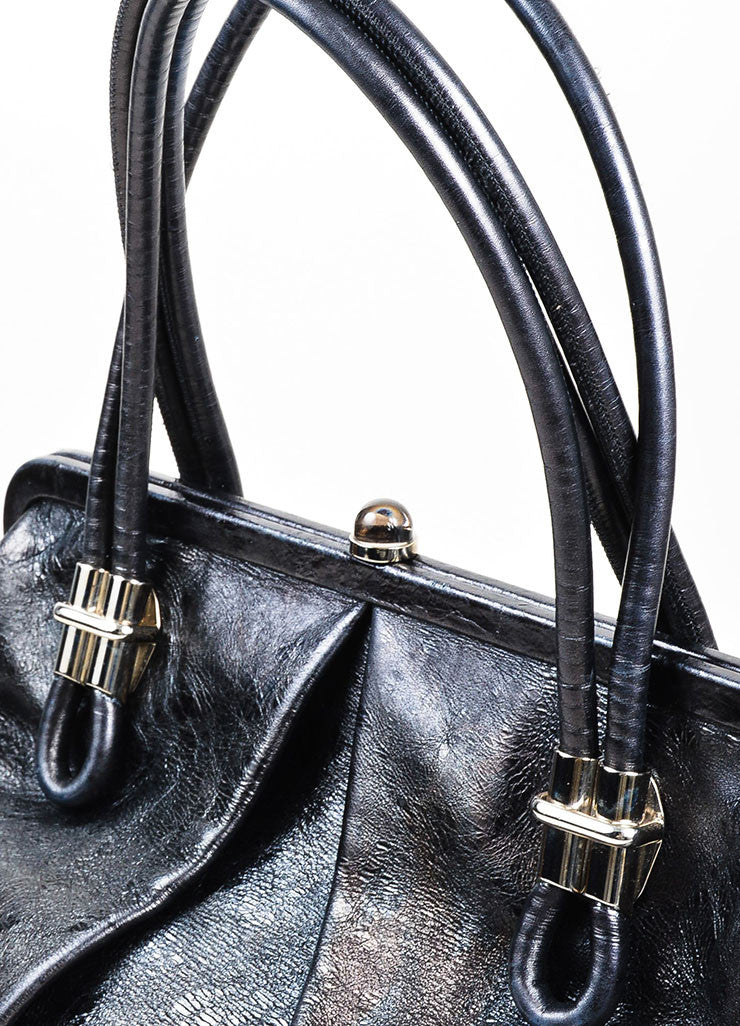 "Black Alexander McQueen Distressed Leather Pleated ""Frame"" Bag Detail 2"
