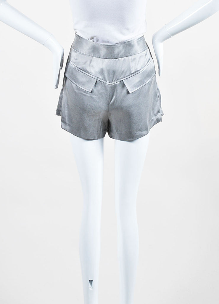 Grey Alexander Wang Silk Pleated Zipped Shorts Backview