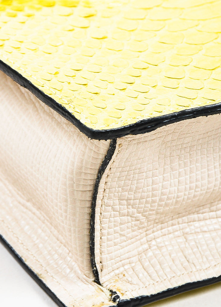 """Chartreuse"" Yellow and Cream Andrew Gn Python Leather Shoulder Bag Detail"
