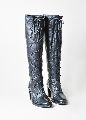 "Black Ann Demeulemeester Leather Knee High Lace Up ""Roccia Forte"" Boots Frontview"