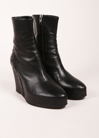 Ann Demeulemeester Black Leather Studded Hidden Wedge Ankle Boots Frontview