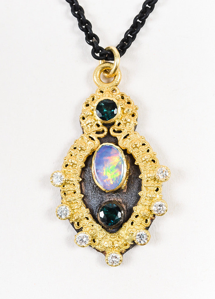 Armenta 18K Gold, Sterling Silver, Diamond, Tourmaline, and Opal Pendant Necklace Detail