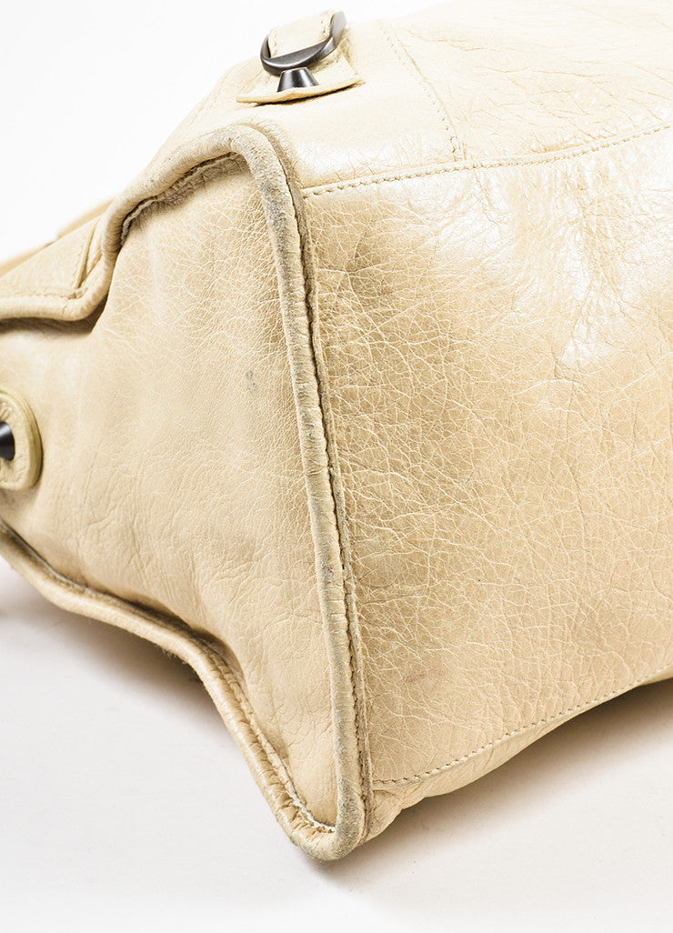 "Beige Balenciaga Leather ""Classic Part Time"" Bag With Shoulder Strap Detail"