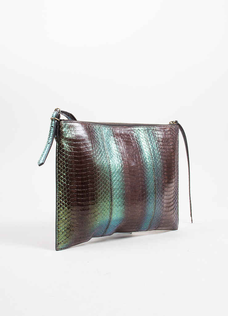 "Brown and Green Balenciaga Python Ombre ""Milky Way Papier"" Wristlet Clutch Bag Sideview"