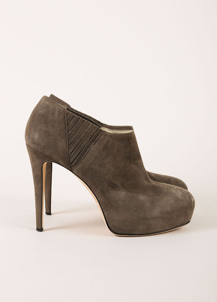 Brian Atwood Grey Suede Leather Hidden Platform Heeled Ankle Booties Sideview