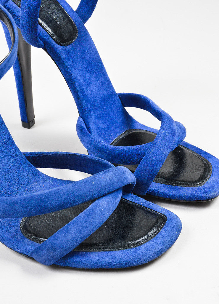 Dark Blue Celine Suede Leather Cross Strap Heeled Sandals Detail