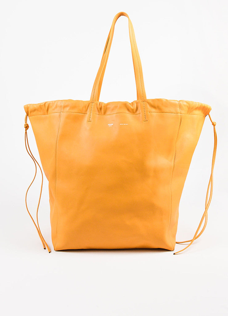 "Celine ""Daffodil"" Yellow Leather ""Large Coulisse"" Drawstring Tote Bag Front"
