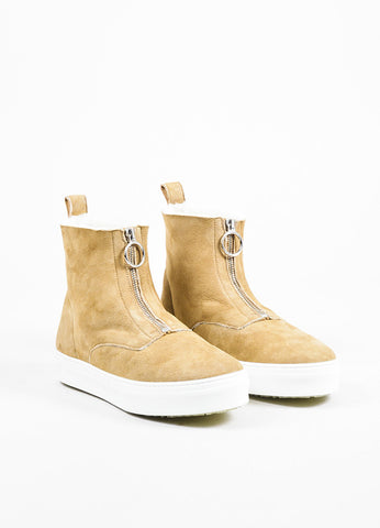Tan Celine Suede Shearling Lined Zipper High Top Sneaker Boots Front