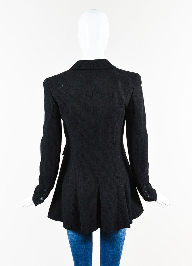 Chanel Black Wool Waffle Weave Utilitarian Button Pocket Jacket Backview