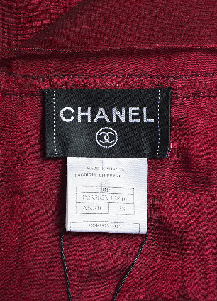 Chanel Burgundy Silk Chiffon Brown Leather Trimmed Sleeveless Dress Brand