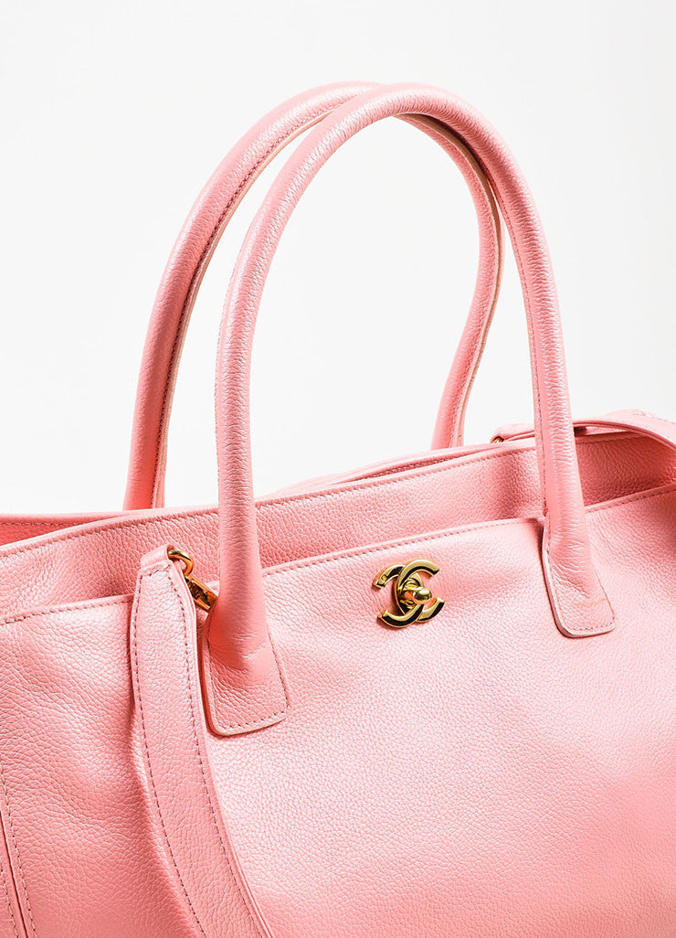 "Chanel Pink and Gold Toned Pebbled Leather 'CC' Turnlock ""Cerf"" Tote Bag Detail 2"