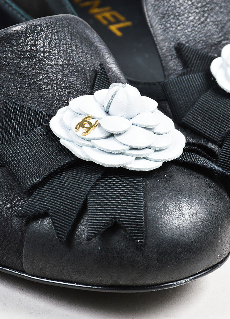 Black Chanel Leather White 'CC' Camellia Flower Loafers Detail