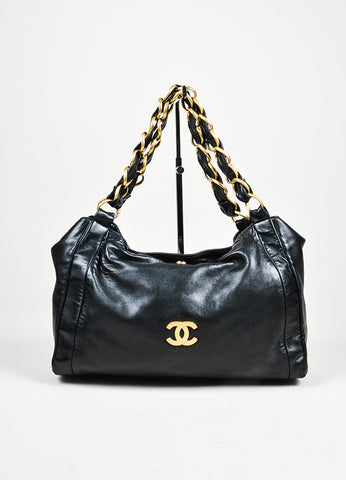"Black and Gold Toned Chanel Leather Chain Strap ""Olsen"" Shoulder Hobo Bag Frontview"