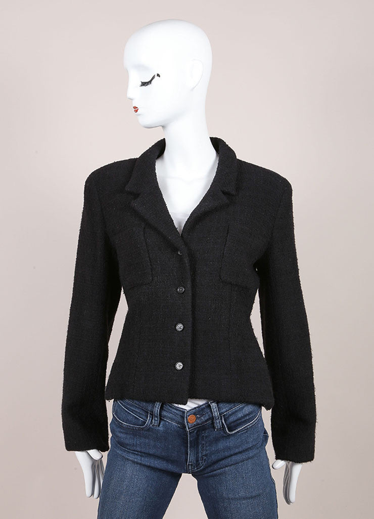 Chanel Black Wool and Angora Knit Jacket Frontview