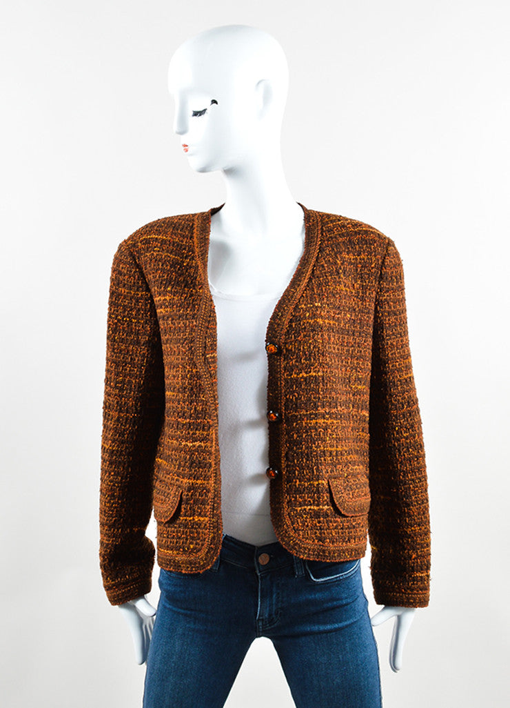 Chanel Brown and Orange Wool Tweed Boxy Cropped Blazer Frontview
