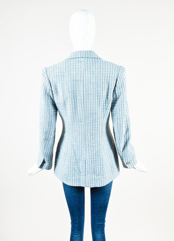 Chanel Light Blue Wool Blend Boucle Tweed Blazer Jacket Backview