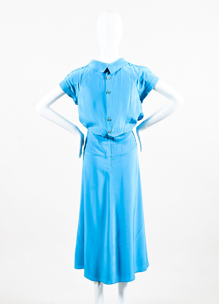 Bright Blue Chanel Silk Short Sleeve 'CC' Button Back Dress Back