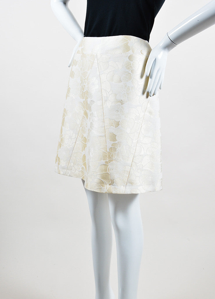 Cream Chanel Floral Brocade Skirt Sideview