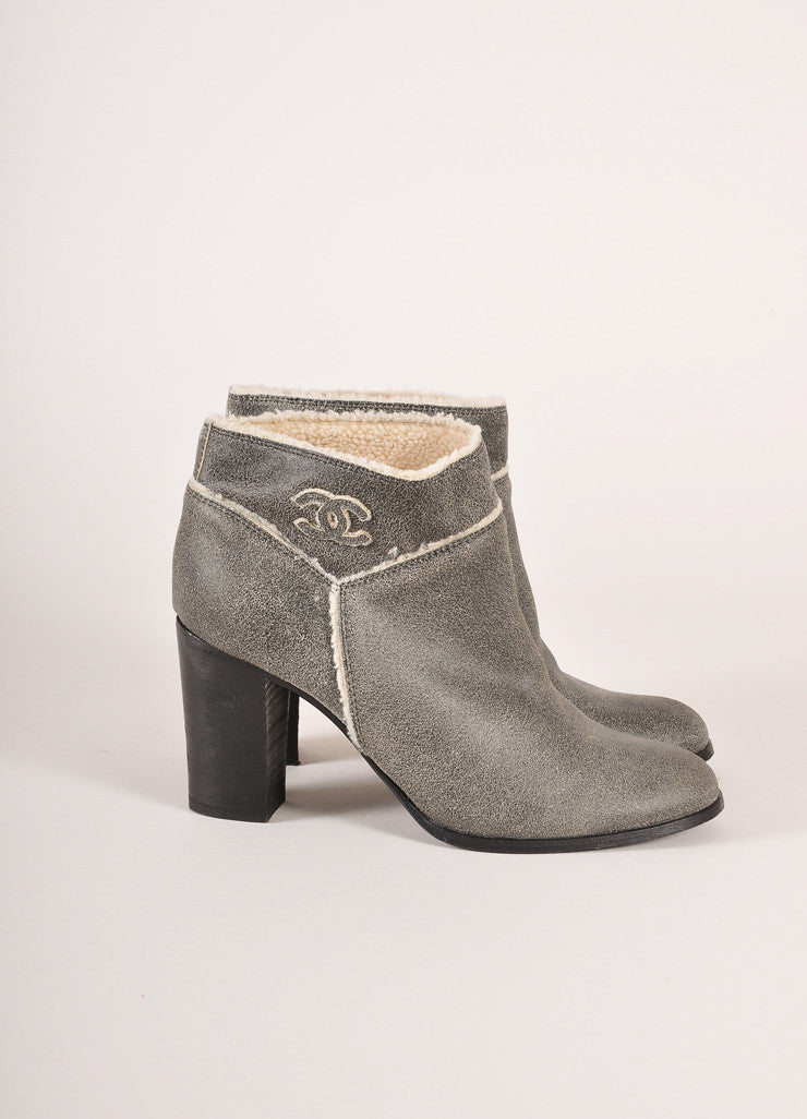 "Chanel Grey and Cream Shearling Lined Crackle ""CC"" Embroidered Ankle Boots Sideview"