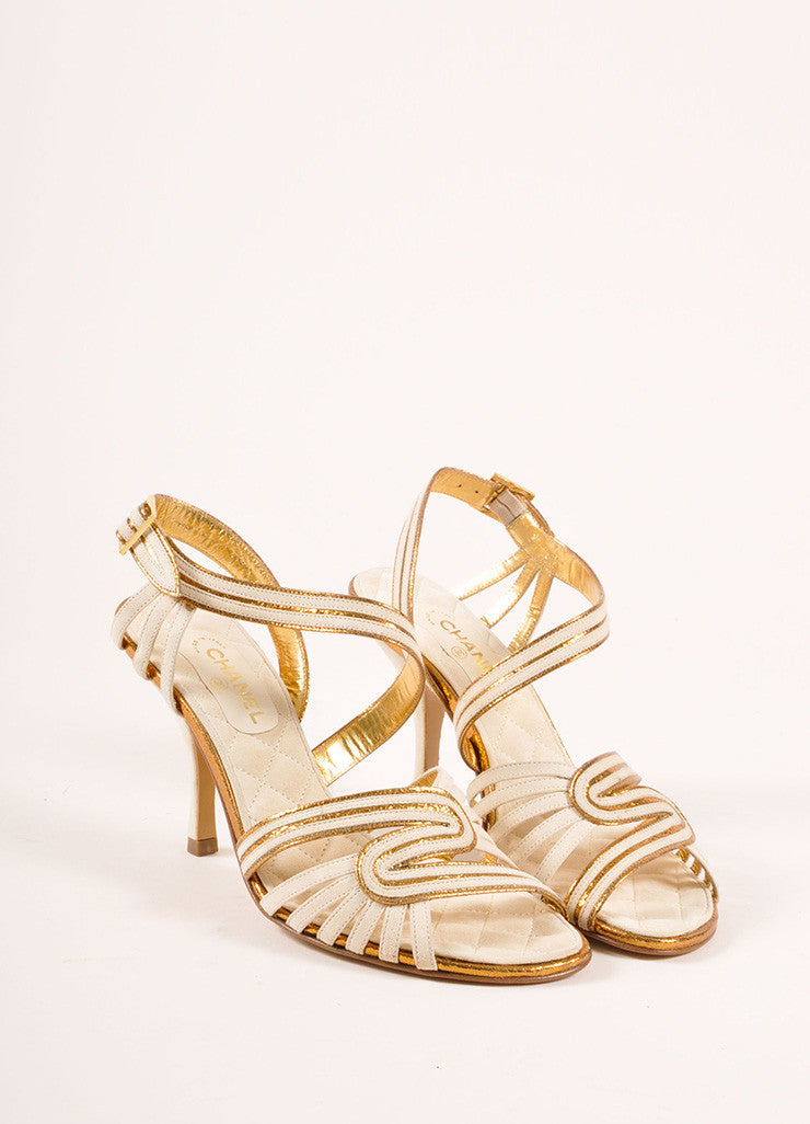 Chanel New In Box White and Bronze Suede Metallic Leather Strappy Sandal Heels Frontview
