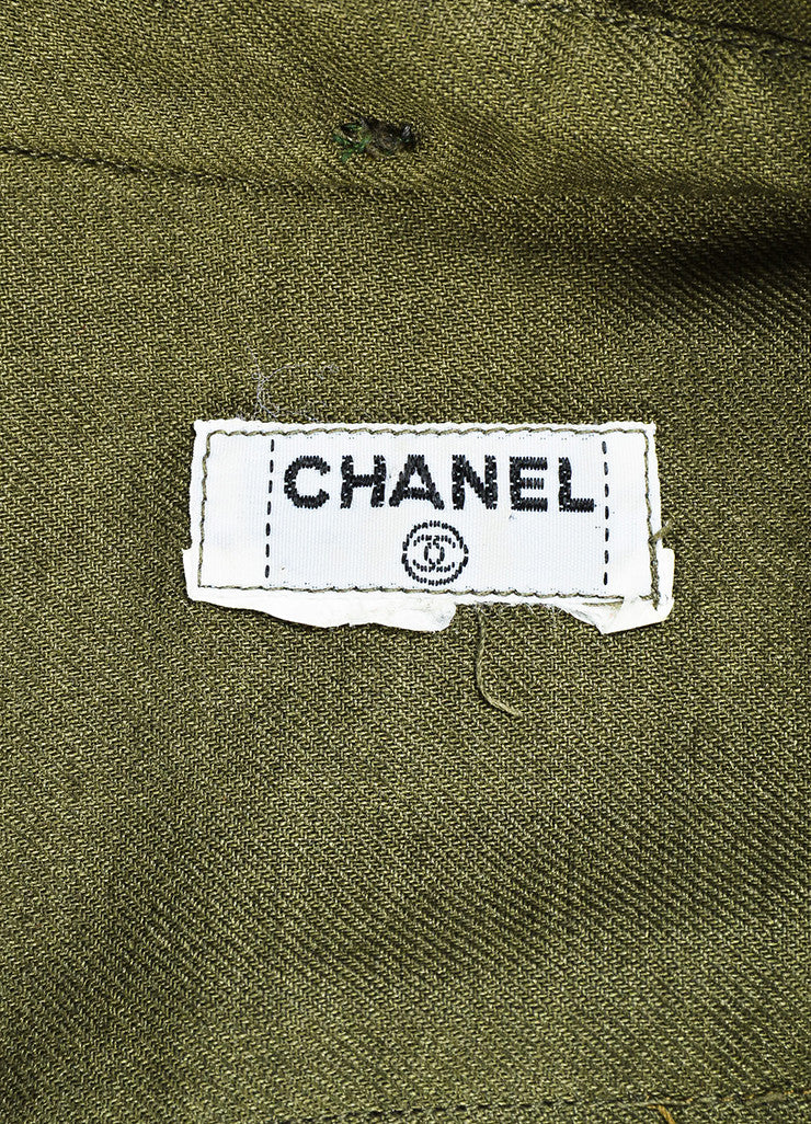 Chanel Olive Green Gold Toned 'CC' Button Long Sleeve Shirt Brand