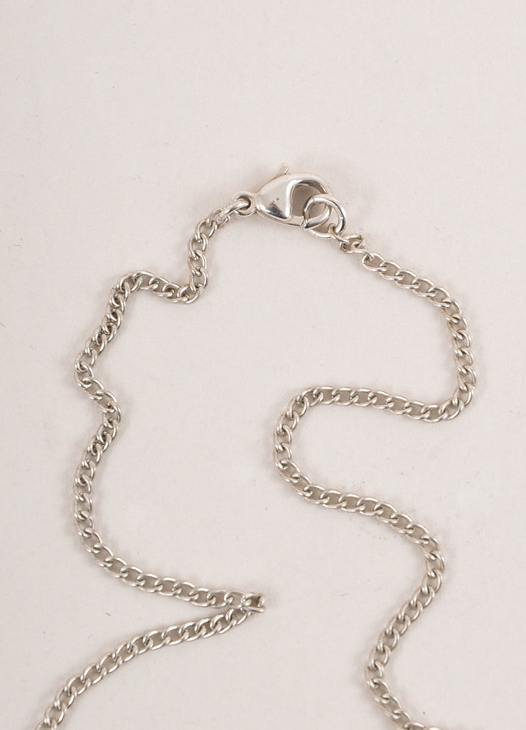 "Chanel Silver Toned Heart Rhinestone Embellished ""CC"" Logo Necklace Closure"