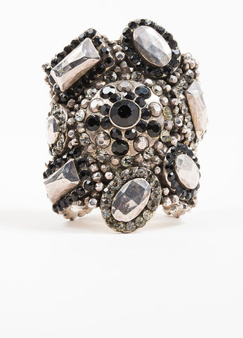 Silver Toned Chantal Thomass Black Metal Crystal Embellished Wide Cuff Front