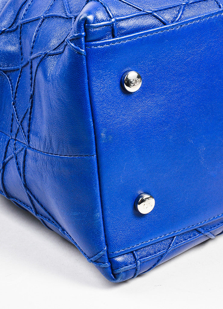 "Christian Dior Navy Blue Leather Embroidered ""Granville Cannage"" Satchel Bag Detail"