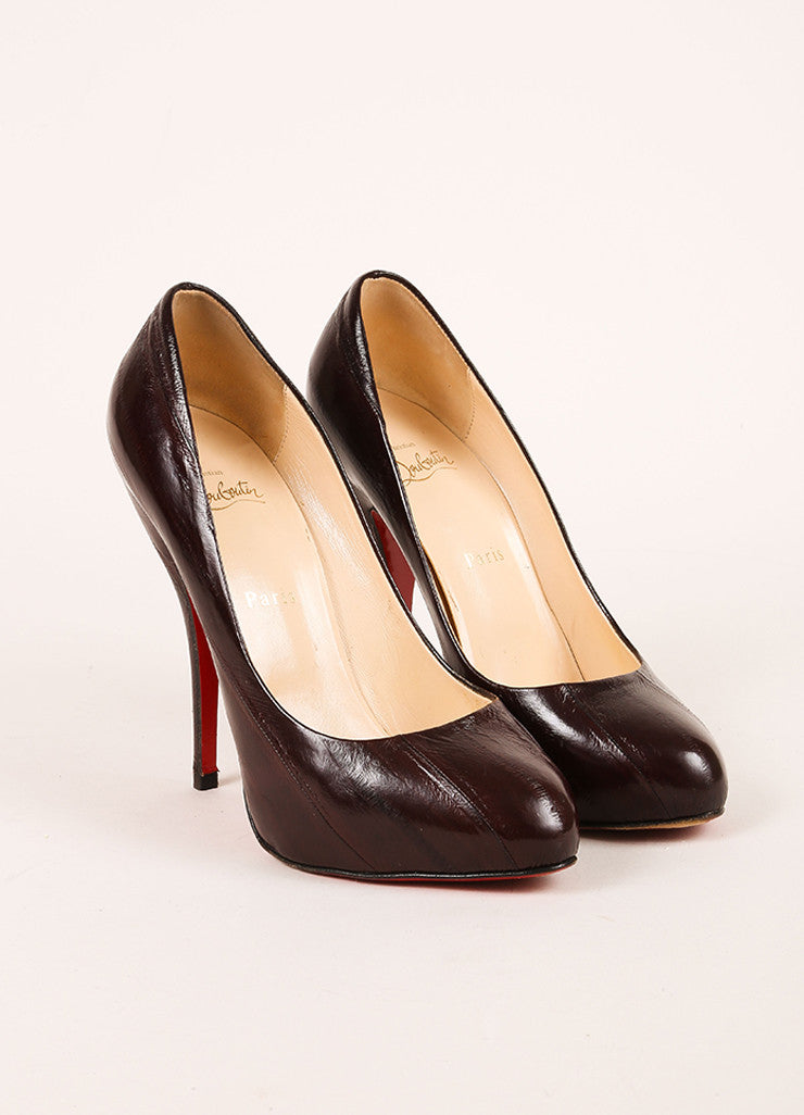 Christian Louboutin Black Eel Leather Decollete 868 Pumps Frontview