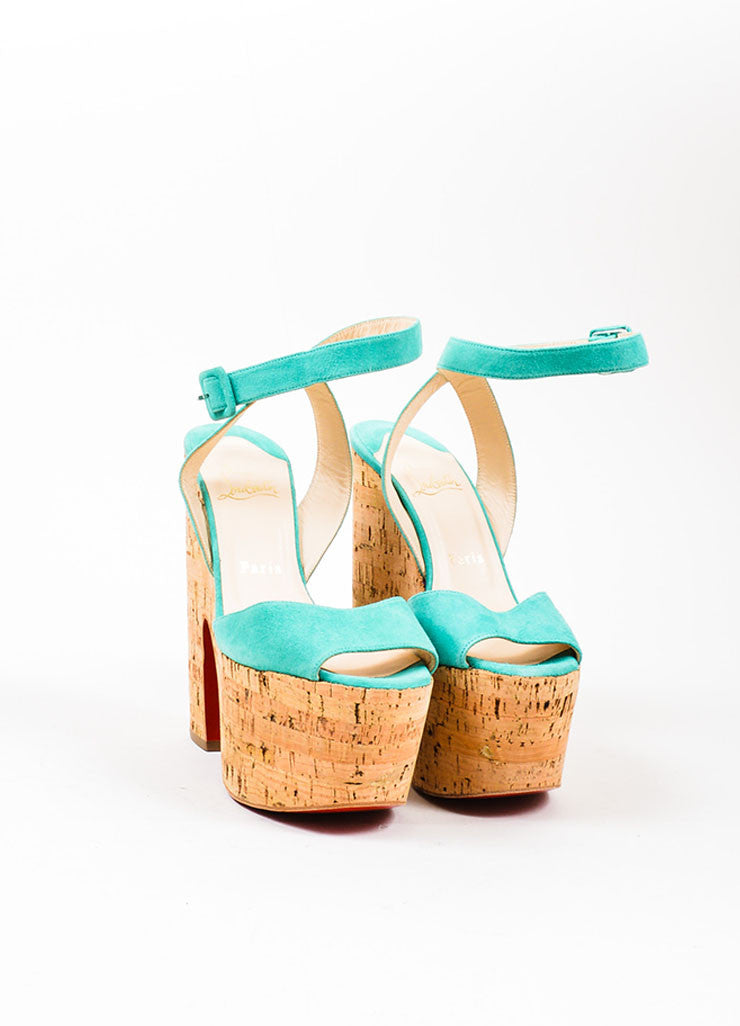 "Teal Christian Louboutin Suede Cork ""Super Dombasle"" Sandals Frontview"