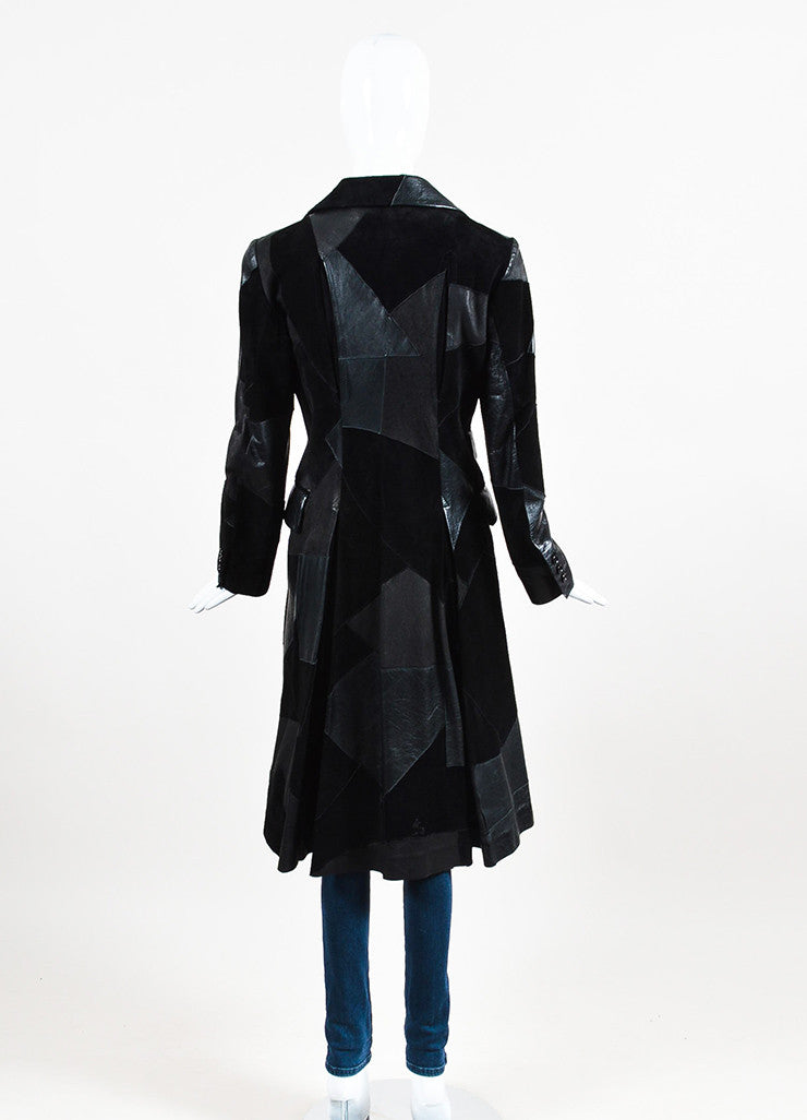 Comme de Garcons Black Leather Suede Patchwork Coat Backview