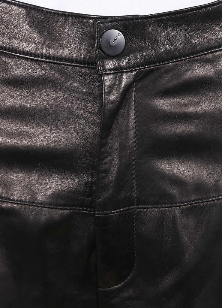 Crippen New With Tags Black Leather Culotte Shorts Detail
