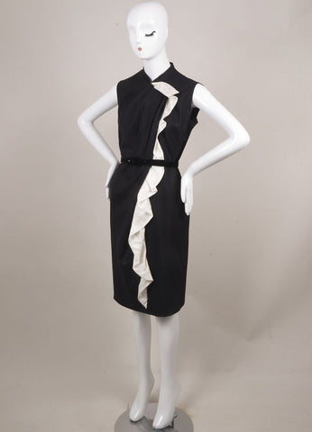 David Szeto Black and White Wool and Silk Belted Sleeveless Shift Dress Sideview