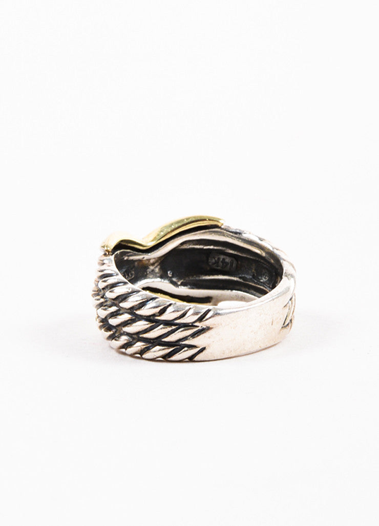 "David Yurman 14K Yellow Gold and Sterling Silver ""Triple Row X Collection"" Ring Backview"