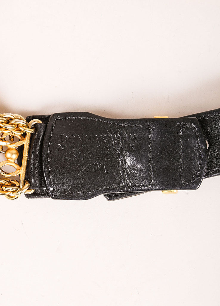 Donna Karan Black Leather and Gold Toned Multi Chain Belt Brand