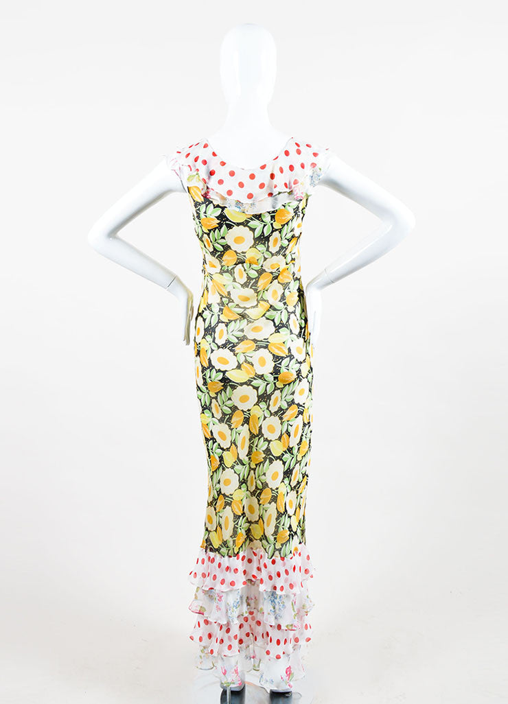 Multicolor Duro Olowu Silk Floral and Polka Dot Ruffle Dress Backview