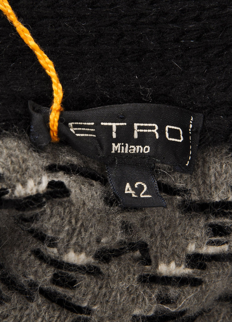Etro New With Tags Black and White Wool Blend Woven Pattern Sweater Cardigan Brand