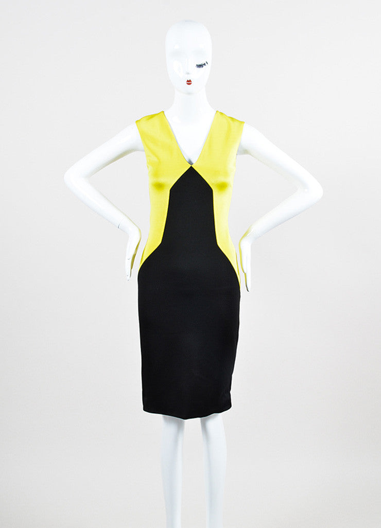 Black and Yellow Fausto Puglisi Colorblock Sleeveless Sheath Dress Front 2