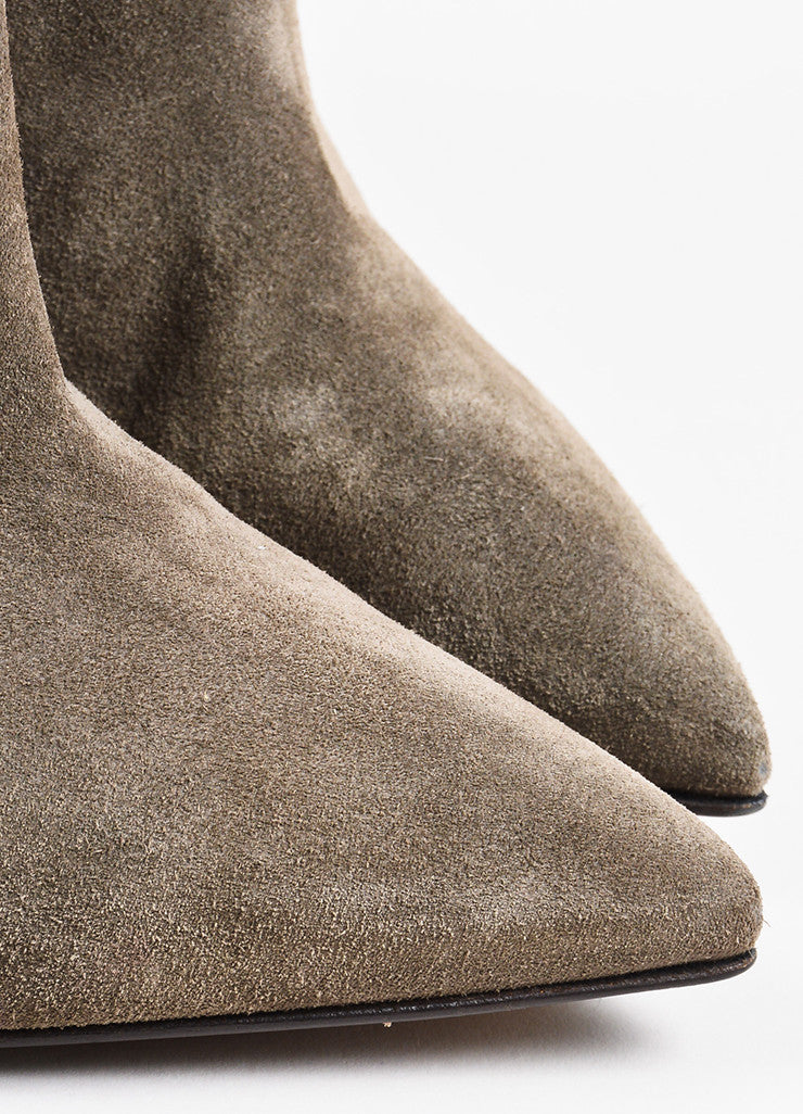 Fendi Grey and Brown Suede High Heel Pointed Western Ankle Boots Detail