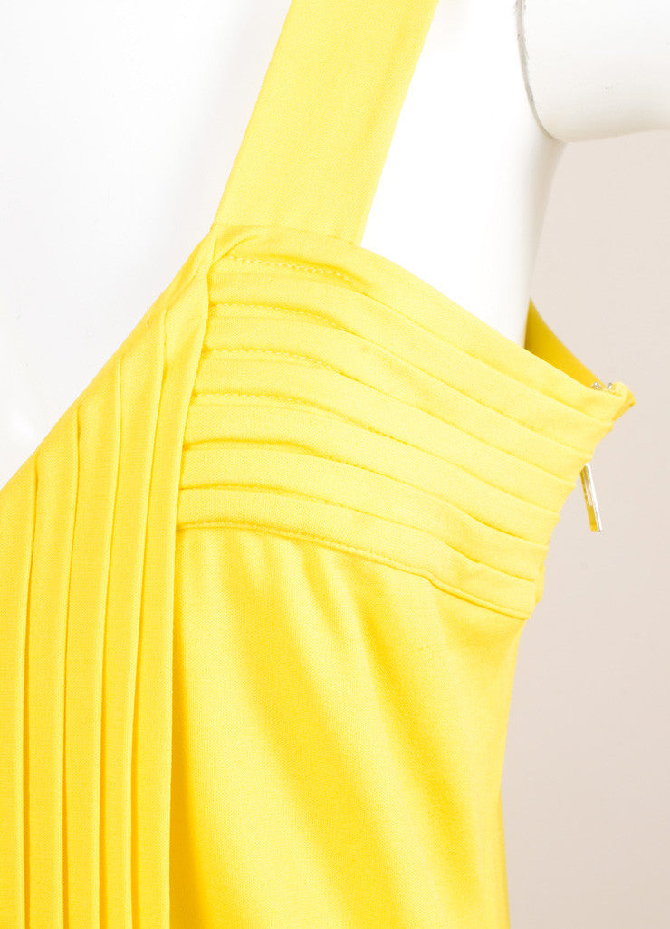 Fendi Yellow Jersey Pleated Sleeveless Dress Detail