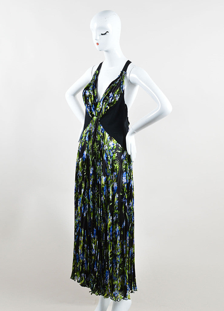 Givenchy Black, Green, and Blue Tropical Floral Print Pleated Sleeveless Maxi Dress Sideview